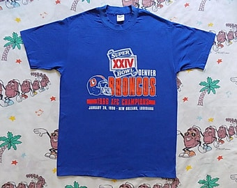 Vintage 80's Denver Broncos 1989 Super Bowl AFC Champs T shirt, size Medium by Trench NFL soft and thin dead stock!