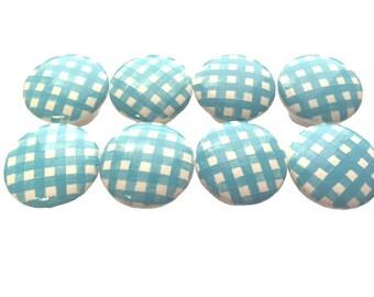 Custom Aqua Blue Gingham Boys Girls Hand Painted Drawer Pulls Knobs