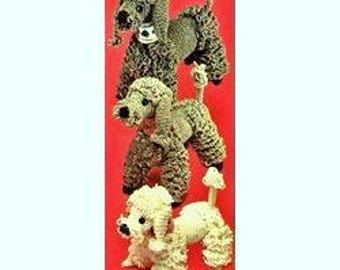 INSTANT DOWNLOAD PDF  Vintage Crochet Pattern  Poodle Family  Retro 1950s  Dog Soft Toy Animal Pet