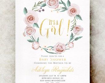 Pink Baby shower invitation girl printable, baby shower invitation girl, unique baby shower invitations, baby girl shower invitation