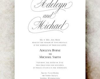Black and White Wedding Invitation printable - elegant wedding invitation, calligraphy wedding invitation, save the date, romantic wedding