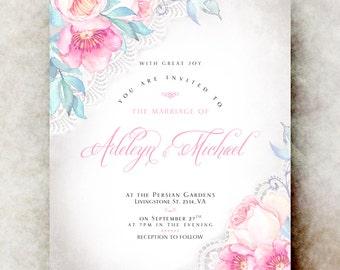 Floral Wedding Invitation printable - wedding invitation suite, spring wedding invitation, printable wedding invitation, pink wedding