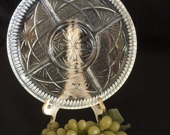 A049  Round Divided glass relish tray