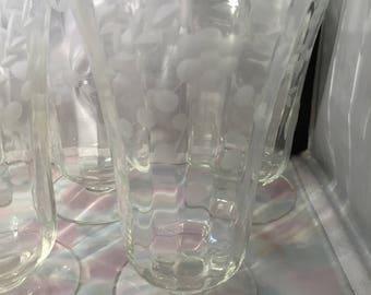 A078  Vintage Etched Dessert Glasses