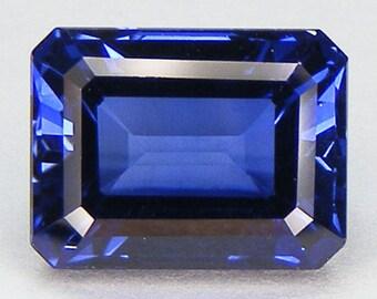 8.11 CT Loose Blue Sapphire Emerald Cut 12 x 9 mm Lab Corundum Lab Created