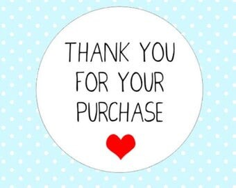 1000x Thank You For Your Purchase Stickers Kiss Cut Round Order Heart Cute Sheet Packaging Labels UK United Kingdom . AC1