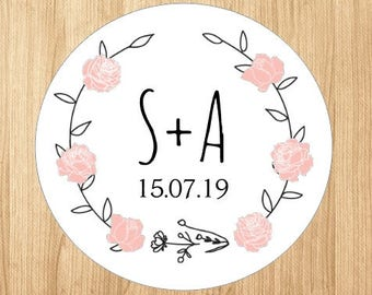 Custom Wedding Save The Date Stickers Labels Wreath Pink Rose Round Initials Date Personalised Wedding Stickers Envelope Seals