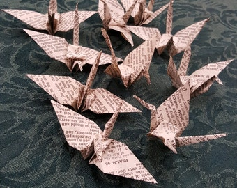 Ten Origami Cranes made from vintage book pages