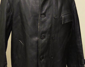 French Brown Leather Vintage 1950s Jacket