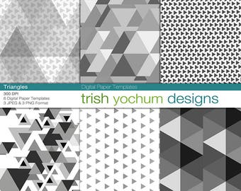 Digital Paper Templates - Digital Paper Overlay - Geometric Triangle Overlay - 12x12 300dpi background textures - Instant Download