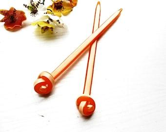 Hair Stick 2 Pieces Set Pin Orange Acrylic Celluloid Acetate Barrette Asian Style Fashion Hair Bun Holder Makers Hair Piks Trendy Accessory