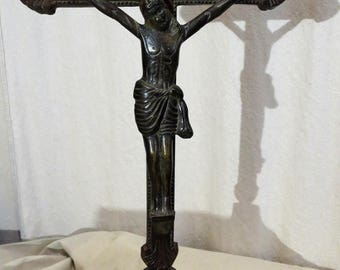 Antique FrenchMetal Standing Altar Crucifix
