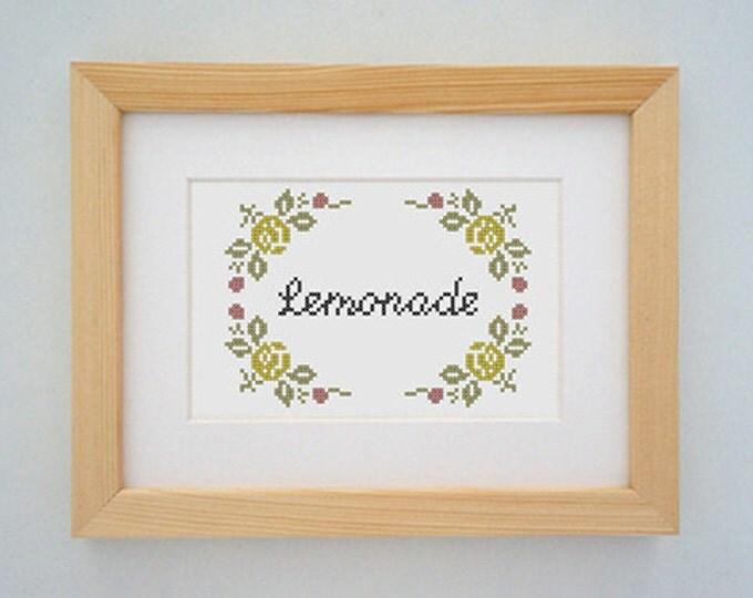 Framed 'Lemonade' cross stitch (inspired by Beyonce)