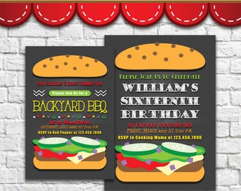 Burger Invitation 1 - PDF JPG DOC Instant Download Printable Digital File