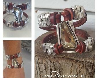 woman leather crystal Bracelet