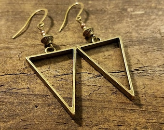 Bronze Earrings, Boho Earrings, Geometric Earrings, Funky Earrings