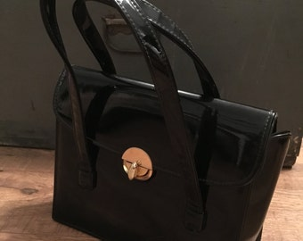 Vintage JR purse,  black patent leather box handbag, classic bag, 50s handbag
