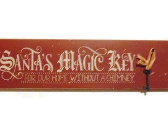 Santa's Magic Key, Christmas Decor, Santa Claus, Real Magic Key, Believe, Wall Decor, Handmade, Wood Sign, Red and White Sign,  Made in USA