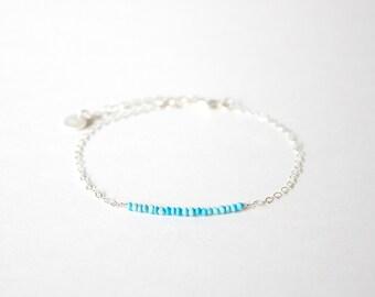 Handmade Simple Lapis Lazuli beads with 925 silver Bracelet, Birth stone for December