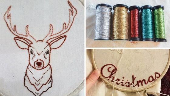 Hand embroidery deer with Kreinik threads