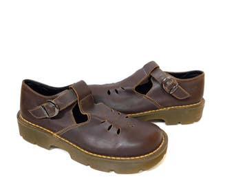 On Sale~Dr. Martens Uk6~ Rare Vtg. Like New Dark Brown Mary Janes -Made in England-Size UK6= US Mens 6.5= US Women's 8 to 8.5
