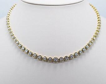 Estate Diamond Riviera Necklace 6.00ct. T.W. Diamond & Yellow Gold - J33739
