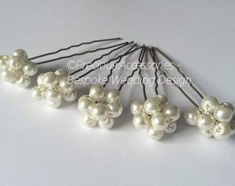 Bridal Ivory Pearl Cluster Hairpins, set of 5 , Perfect for Brides, Bridesmaids, Proms. Wedding hair accessories