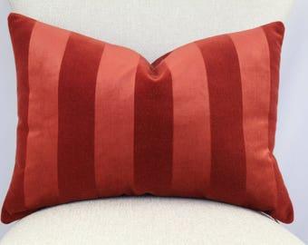 Terracotta striped velvet,pillow cover,throw pillow,accent pillow,decorative pillow,lumbar pillow,same fabric on both sides.