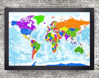 Oh the Places You'll Go World Map | Kids World Map | Use as a Wall or Push Pin Map | Geography education |