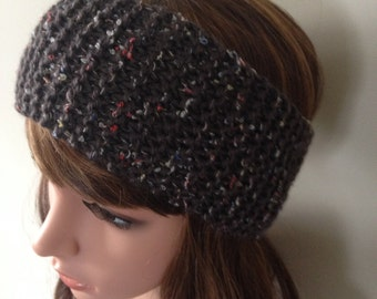 Knitted headband - knit ear warmer - grey tweed head wrap  - keep the wind out of your ears while outdoors - made with textured wool