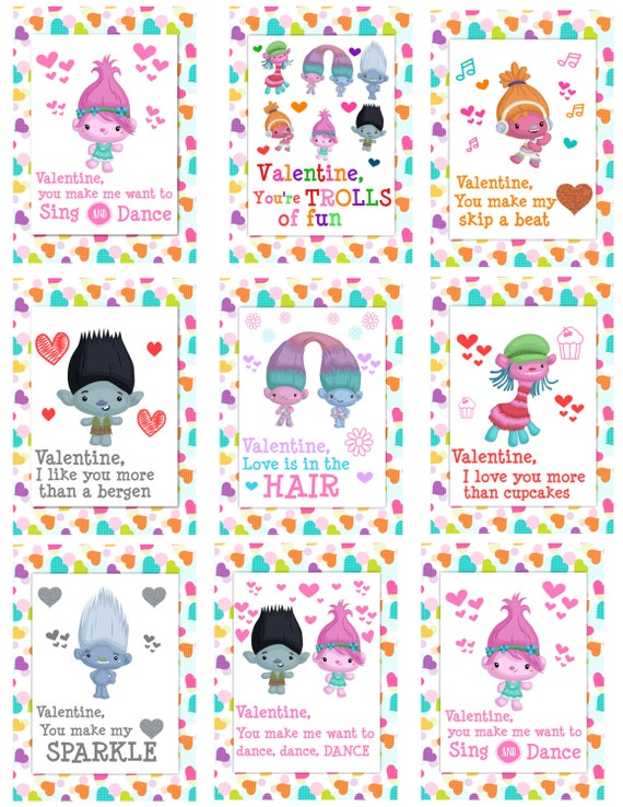 Trolls Poppy Cute Printable Valentine Cards