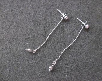 Vintage 925 Sterling Silver ball and chain earrings