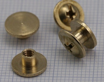 "Screw rivets, chicago screw / concho screw, 9 x 4.2 mm raw brass studs, unusual steampunk finding, 1/8"" bolt CSC3"