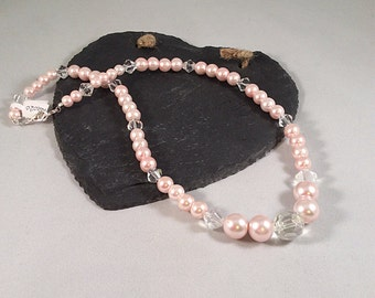 Pink Pearl and Clear Beaded Necklace