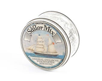 "Vintage tin box ""Kingston's Sailor Mix"" old round box with lid"
