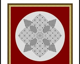 Flower Heart - Blackwork Embroidery Chart -  PDF chart