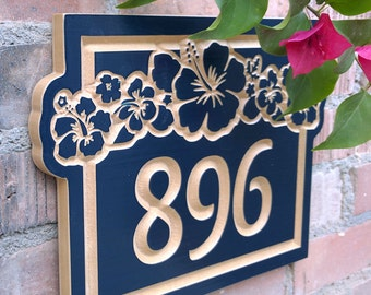 """14"""" x 10"""" Hawaiian House Number Engraved Plaque"""