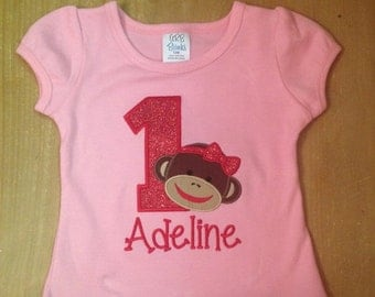 Pink and Red Girly Sock Monkey Embroidered Birthday Shirt or Baby Bodysuit