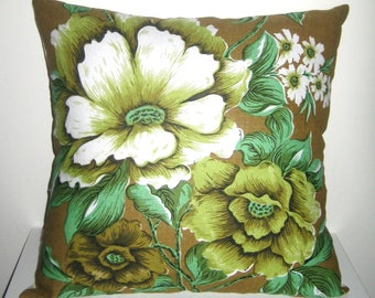 Vintage Floral Fabric Cushion Cover /Irish Linen Pillow/One Of A Kind Pillow/ Vintage Fabric/Earthy Tones/ Birthday Gift, Housewarming Gift