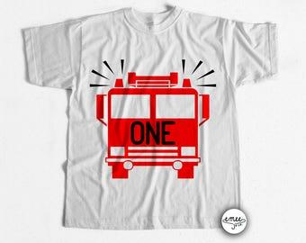 Firetruck Birthday Shirt One Birthday Shirt First Birthday Boy