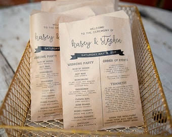 Wedding Program Craft Paper Bag