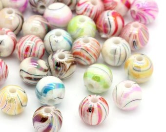 100 Acrylic Mixed Colour AB Stripe Beads, Vibrant Bright Round Glossy Beads, 8mm Stripe Beads,  PB23