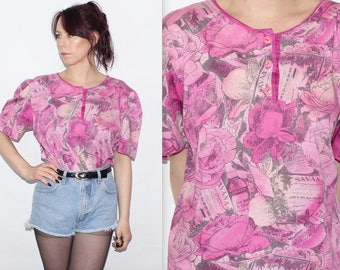 Vintage 1990's Pink & Grey FLORAL PATTERNED Short Puff Sleeves Tee T-Shirt Top Size Large
