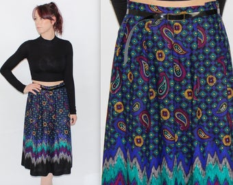 """Vintage 1990's Purple Green Pink PAISLEY PATTERNED High Waisted MIDI Skirt Size 16 Waist 32"""""""