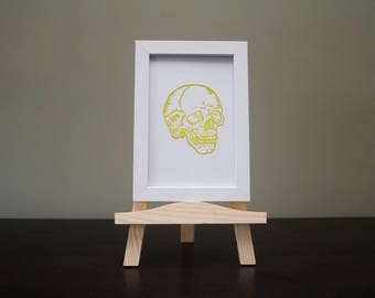 Yellow Skull Hand Painted on Glass