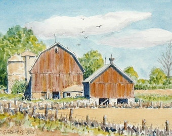 "Rural Farm Scene 3 limited edition watercolor print   matted to 8"" x 10"" barn, landscape"