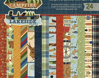 Photoplay CAMPFIRE LAKESIDE 6x6 Paper Pad - 24 Ds Cardstock pcs Camping CL-2522
