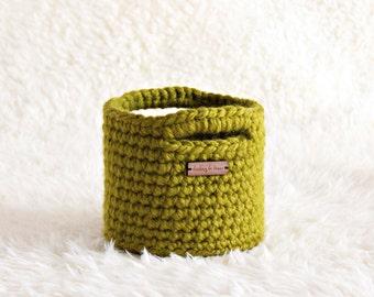 MINI BASKET | small lemongrass green basket with handles, home decor, storage solution, crochet basket, shelf decoration, nursery storage