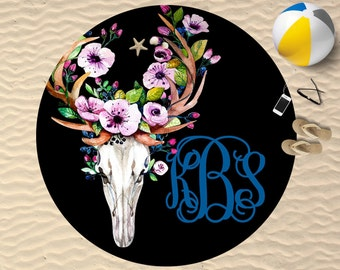 Personalized Round Towel | Bull Skull | Round Towel