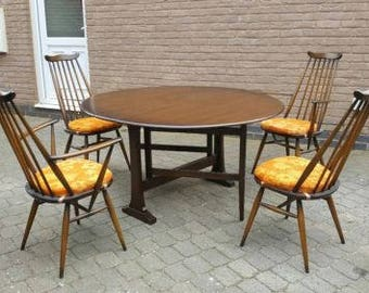 Ercol Goldsmith Beech and Elm Chairs and Dining Table Set
